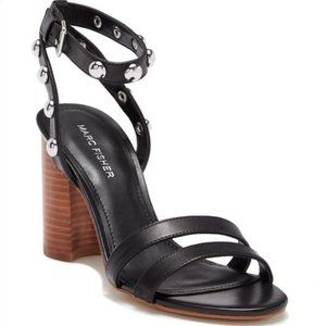 MARC FISHER Leather Stud Ankle Strap Sandals